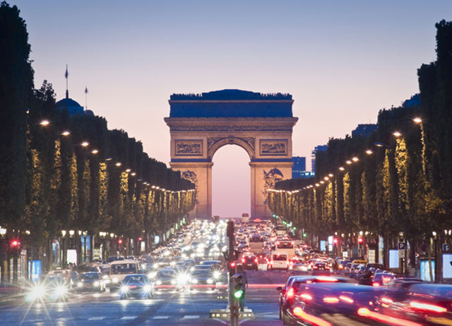 Traffic near the Arc de Triomphe in Paris
