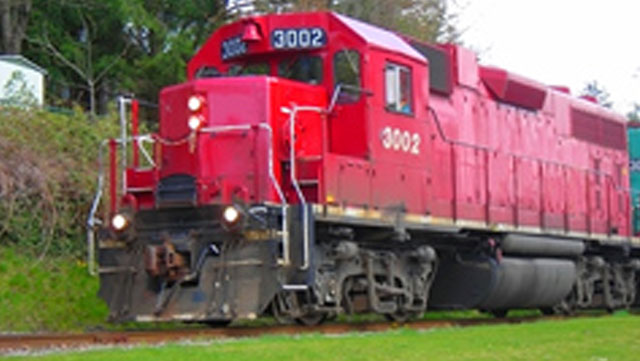 red freight train
